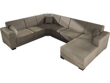 Canapé dangle moderne en tissu coloris marron clair avec méridienne angle droit