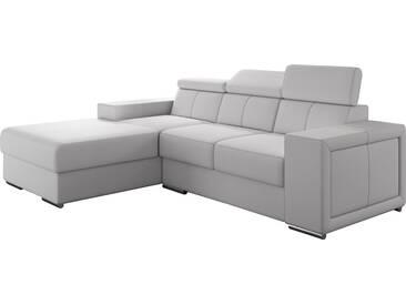 Canapé dangle moderne en pvc coloris blanc avec méridienne angle gauche