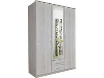SOLDES - Armoire 135x199 cm à 2 portes + 1 porte-miroir + 2 tiroirs coloris chêne blanc