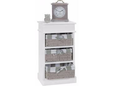 Commode contemporaine en bois Paulownia blanc avec 3 paniers en osier coloris gris collection C-Chakir