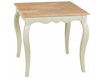 Table à manger carrée 80 x 80 cm en bois massif coloris blanc collection C-Louise