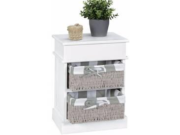 Commode contemporaine en bois Paulownia blanc avec 2 paniers élégants coloris gris collection C-Chakir