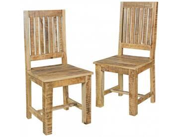 Lot de 2 chaises de salle à manger en bois de mangier massif coloris naturel collection C-Joonas
