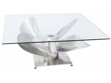 SOLDES - Table basse 85 cm avec plateau en verre trempé structure argentée design hélice