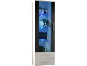 SOLDES - Vitrine à poser moderne 190 cm à 1 porte vitrée avec éclairage LED et 2 tiroirs en panneaux de particules coloris blanc et noir