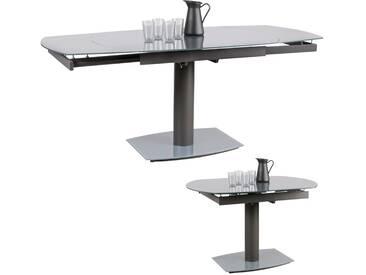 Table à manger design extensible 120-180 cm en coloris gris foncé métal avec verre trempé securit  4 - 8 personnes collection C-Takeru
