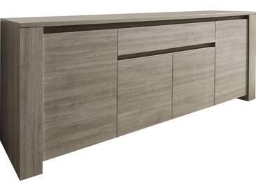 SOLDES - Bahut 210cm moderne à 4 portes + 1 tiroir coloris chêne gris