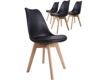 Lot de 4 chaises design scandinave coloris noir avec piétement en bois massif