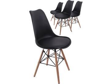 Lot de 4 chaises noir design scandinave avec assise rembourré en polyester et dossier en polypropylène coloris noir avec piétement en bois massif et métal croisé