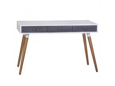 Console design scandinave 120 cm à 3 tiroirs avec piétement en chêne coloris blanc et gris collection C-Powell