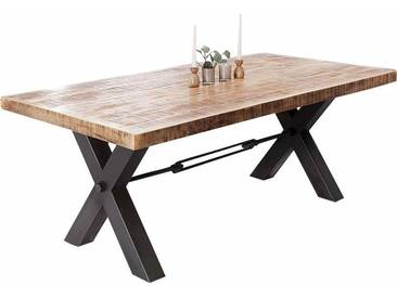 SOLDES - Table à manger design 200 cm en bois massif et piétement en fer