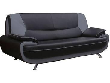Canapé 3 places design en pvc coloris gris foncé et noir Nino