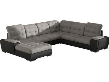 Grand canapé d'angle panoramique convertible avec méridienne gauche en tissu gris et pvc noir