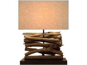 SOLDES - Lampe à poser 36 cm en bois recyclé avec abat-jour coloris blanc cassé
