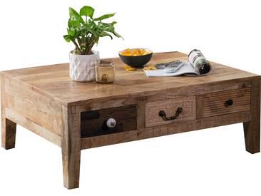 Table basse vintage avec 3 tiroirs en bois massif manguier 100x70x38 cm collection C-Israel