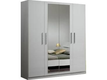 SOLDES - Armoire 4 portes coloris blanc laqué avec miroir central