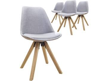 SOLDES - Lot de 4 chaises design scandinave en tissu coloris gris clair avec piétement en bois massif