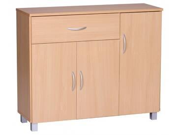 Commode 90 cm avec 3 portes et 1 tiroir coloris hêtre collection C-Erminia