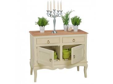 Commode 95 x 45 x 80 cm à 2 portes et 2 tiroirs en bois massif coloris acacia et blanc collection C-Louise