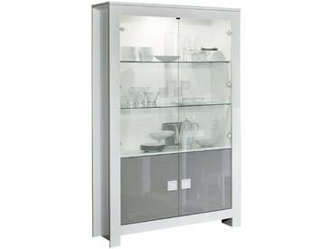 SOLDES - Vitrine à 2 portes blanc et gris laqué avec éclairage led