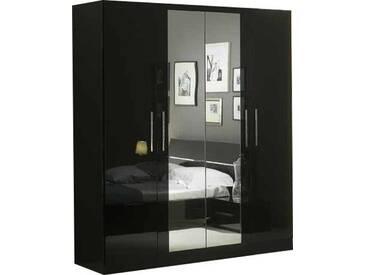 SOLDES - Armoire 180x210 cm à 4 portes dont 2 centrales avec miroir coloris noir laqué