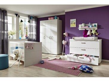 Ensemble chambre bébé 3 pièces avec lit 70x140 cm + commode à langer et armoire bébé coloris blanc