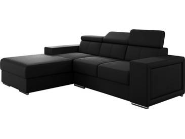 Canapé dangle moderne en pvc coloris noir avec méridienne angle gauche