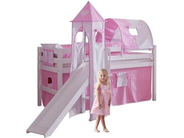 Lit surélevé 90x200 cm avec toboggan réversible en hêtre massif et lot de textiles coloris blanc design château rose