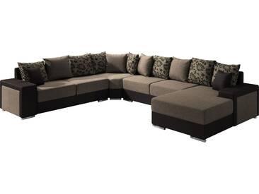 Canapé dangle moderne en tissu et pvc avec méridienne angle droit coloris marron