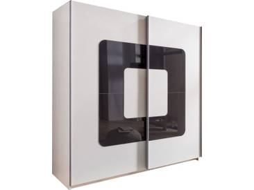 SOLDES - Armoire 180x198 cm à 2 portes coulissantes orné de verre gris anthracite coloris blanc