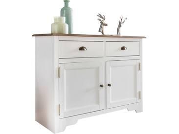 Buffet contemporain avec 2 portes et 2 tiroirs en bois pin massif peint en blanc de style country 110 x 85 x 45 cm collection C-Trisa