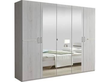 SOLDES - Armoire 225x210 cm à 5 portes dont 3 avec miroir + ornement métallique coloris chêne blanc