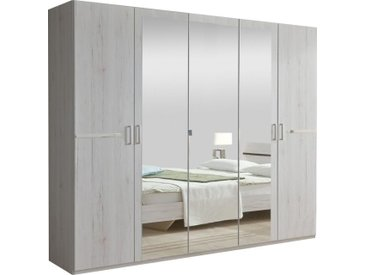 Armoire 225x210 cm à 5 portes dont 3 avec miroir + ornement métallique coloris chêne blanc