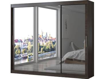 SOLDES - Armoire contemporaine à 3 portes coulissantes 250 cm coloris marron