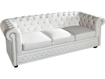 Canapé Chesterfield 3 places en pvc coloris blanc