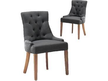 SOLDES - Lot de 2 chaises en tissu coloris anthracite