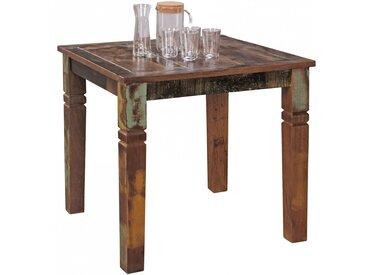 Table à manger carrée 80 cm en bois de Manguier massif coloris brun collection C-Eggers