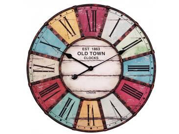 SOLDES - Horloge murale à structure métallique 60 cm et chiffres romains aspect vintage collection C-Dore