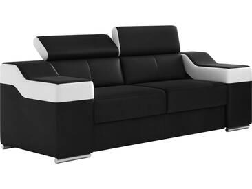 Canapé design 2 places en pvc noir et blanc