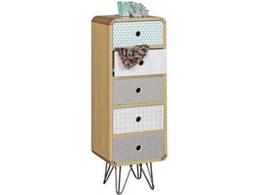 Commode 90 cm à 5 tiroirs en panneaux de particules et MDF avec piétement en métal coloris noir collection C-Honor