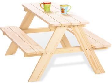 Table de jardin et 2 bancs pour 4 enfants en bois massif coloris naturel