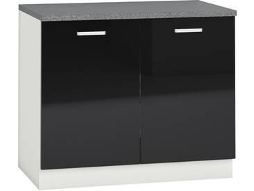 Meuble bas de cuisine design 100 cm avec 2 portes coloris blanc mat et noir laqué