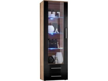 SOLDES - Vitrine à poser moderne 190 cm à 1 porte vitrée avec éclairage LED et 2 tiroirs en panneaux de particules coloris brun et noir brillant