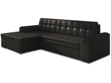 Canapé dangle convertible 3 places en pvc noir avec méridienne côté gauche