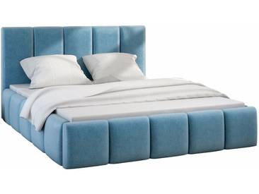 Lit design avec matelas 180x200 en tissu coloris bleu