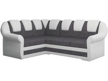 SOLDES - Canapé dangle convertible 4 places en tissu gris et pvc blanc avec coffre méridienne côté gauche