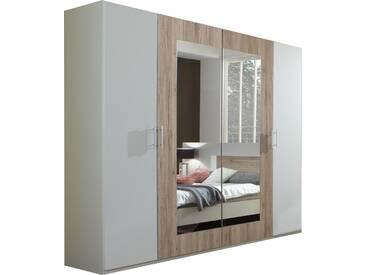 SOLDES - Armoire 225x210 cm à 4 portes dont 2 portes-miroirs coloris chêne clair et blanc