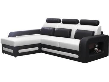 SOLDES - Canapé dangle convertible 3 places en pvc noir et blanc avec&nbsp:coffre méridienne côté gauche