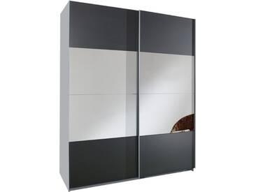 SOLDES - Armoire 140x200 cm à 2 portes coulissantes avec miroir coloris gris anthracite