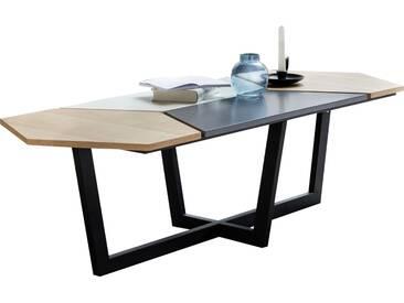 Table basse design scandinave en bois MDF coloris blanc, gris, chêne 152 x 46 x 60 cm avec cadre métallique collection C-Teppei